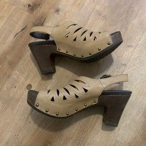 Dansko Beige Heeled Clogs Size 36/6